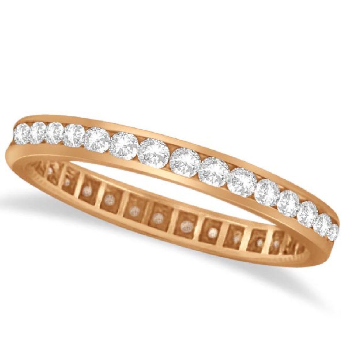 Channel Set Diamond Eternity Ring Band 14k Rose Gold (p