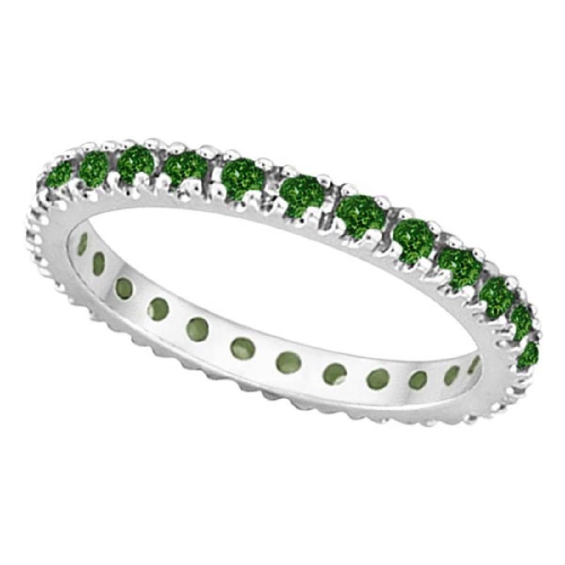 Emerald Eternity Stackable Ring Band 14K White Gold (0.
