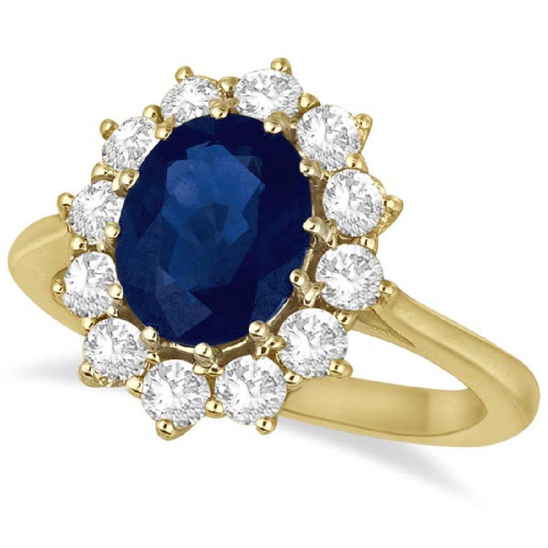 Oval Blue Sapphire and Diamond Accented Ring 14k Yellow
