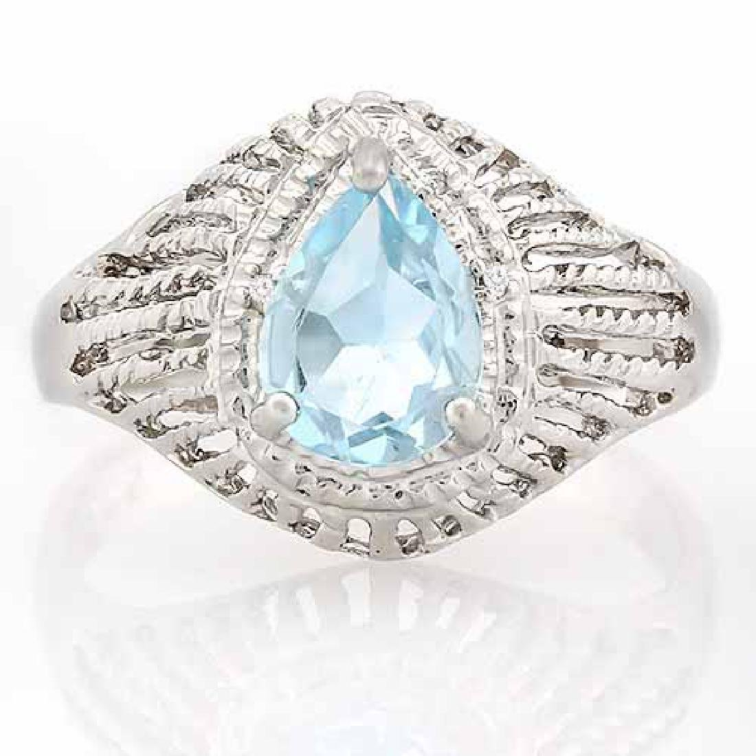 1 CARAT BABY SWISS BLUE TOPAZ & DIAMOND 925 STERLING SI
