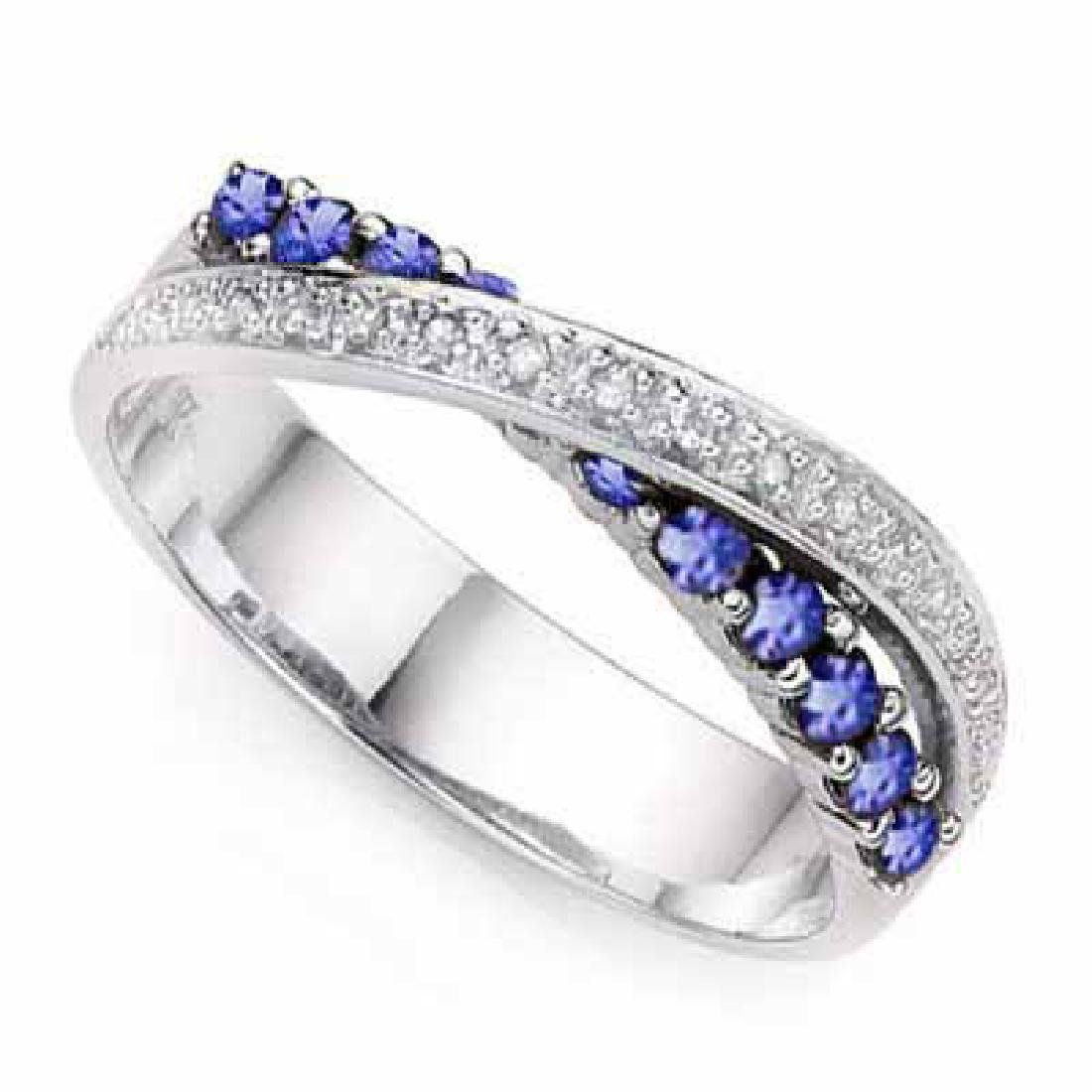0.46 CT GENUINE TANZANITE & 2 PCS GENUINE DIAMOND PLATI