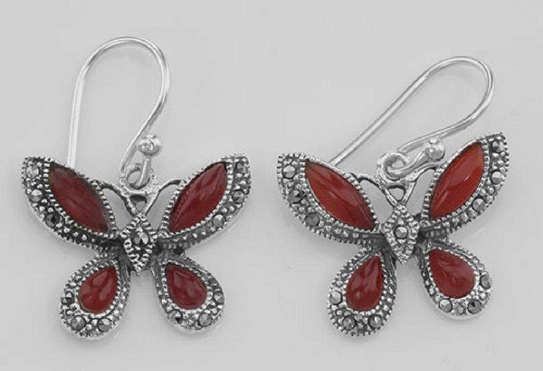 Red Carnelian Marcasite Butterfly Earrings Sterling Sil
