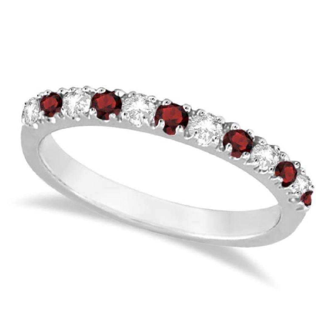 Diamond and Garnet Ring Guard Stackable Band 14K White