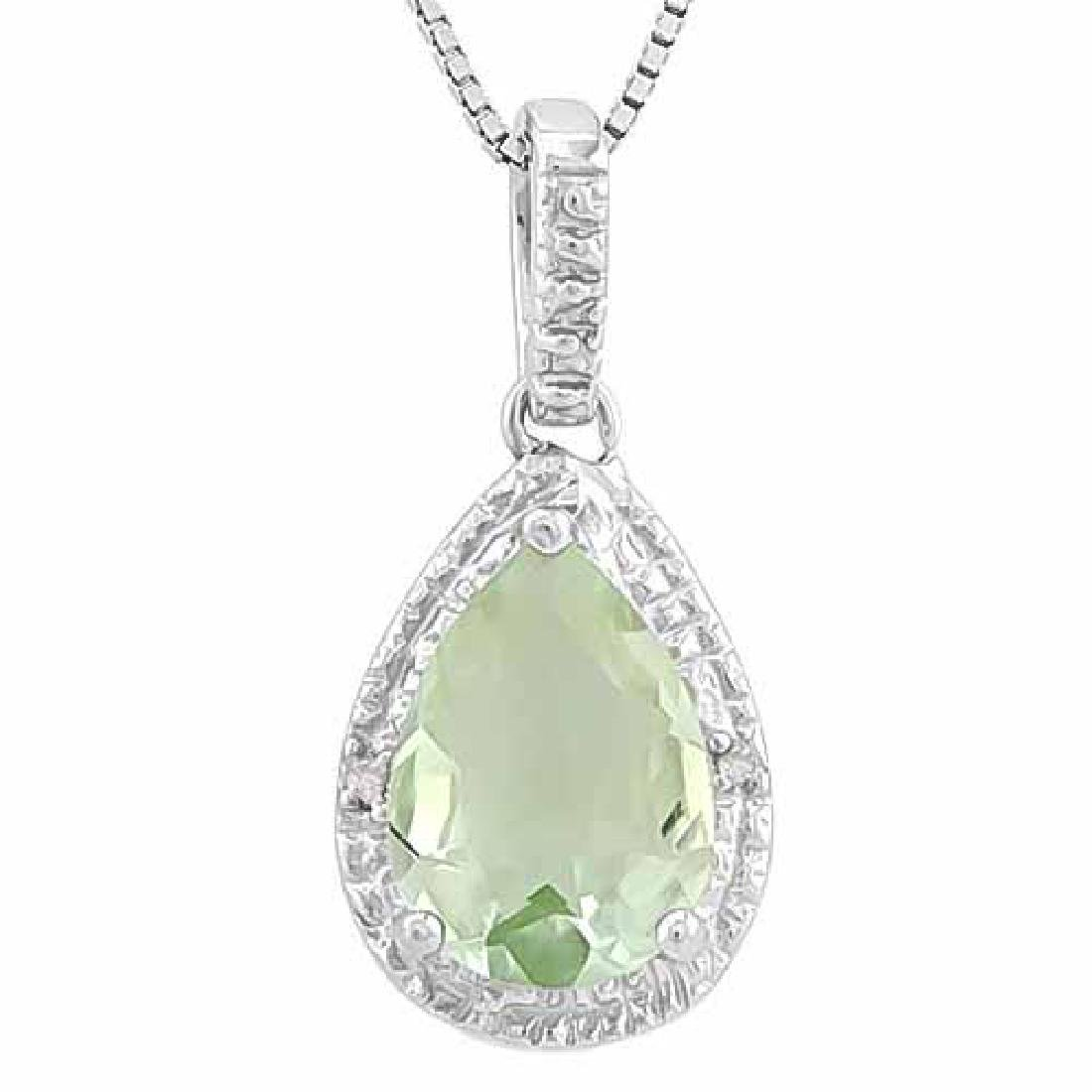 2.34 CT GREEN AMETHYST & 2PCS GENUINE DIAMOND 925 STERL