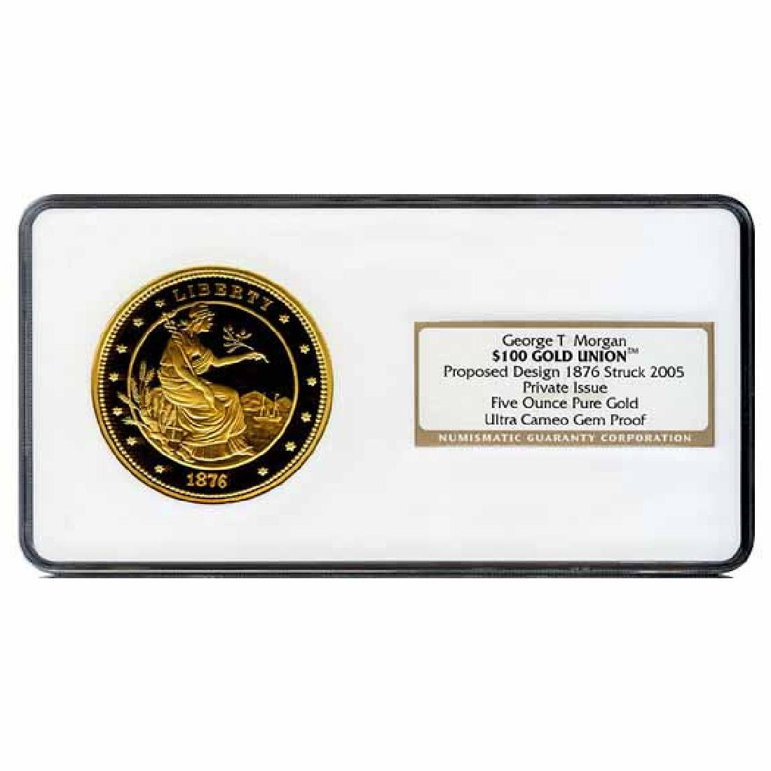 Certified $100 Gold Union Proof Five Ounce Proposed 187