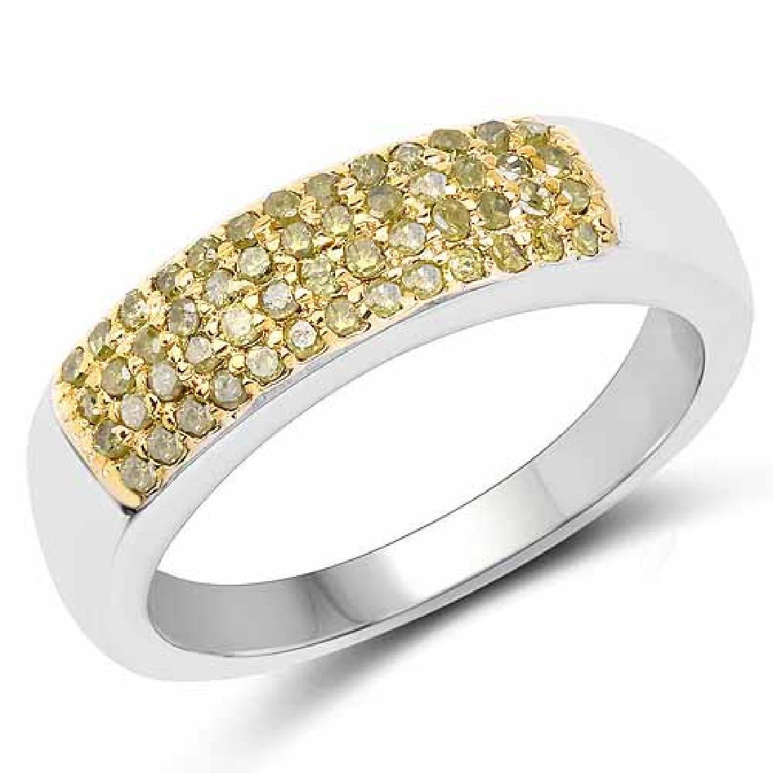 0.22 Carat Genuine Yellow Diamond .925 Sterling Silver