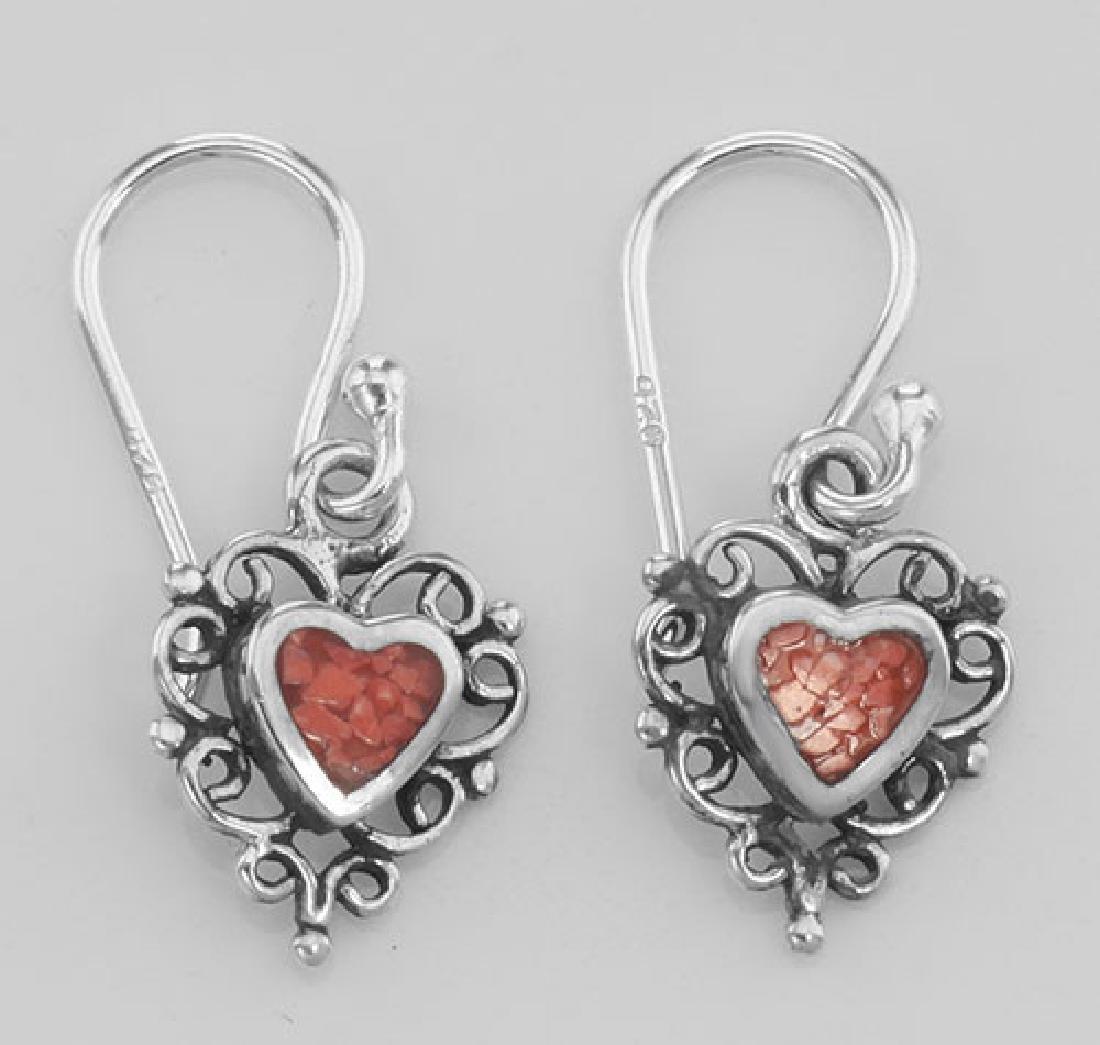 Cute Heart Earrings w/ Stone - Sterling Silver