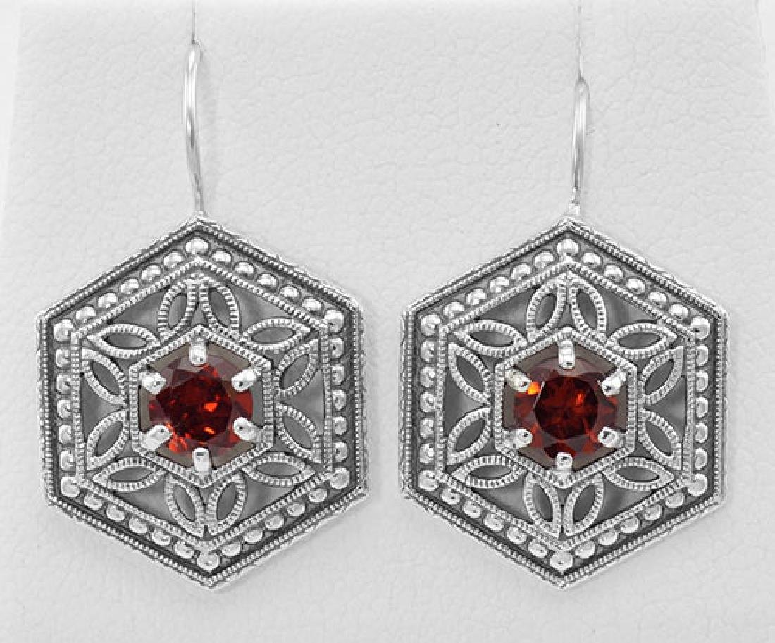 Garnet Filigree Earrings - Sterling Silver