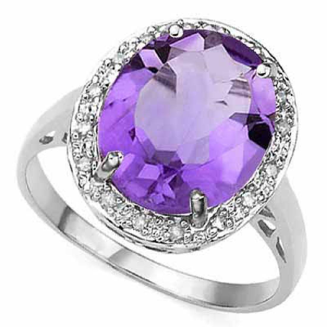 4 1/4 CARAT AMETHYST & DIAMOND 925 STERLING SILVER RING