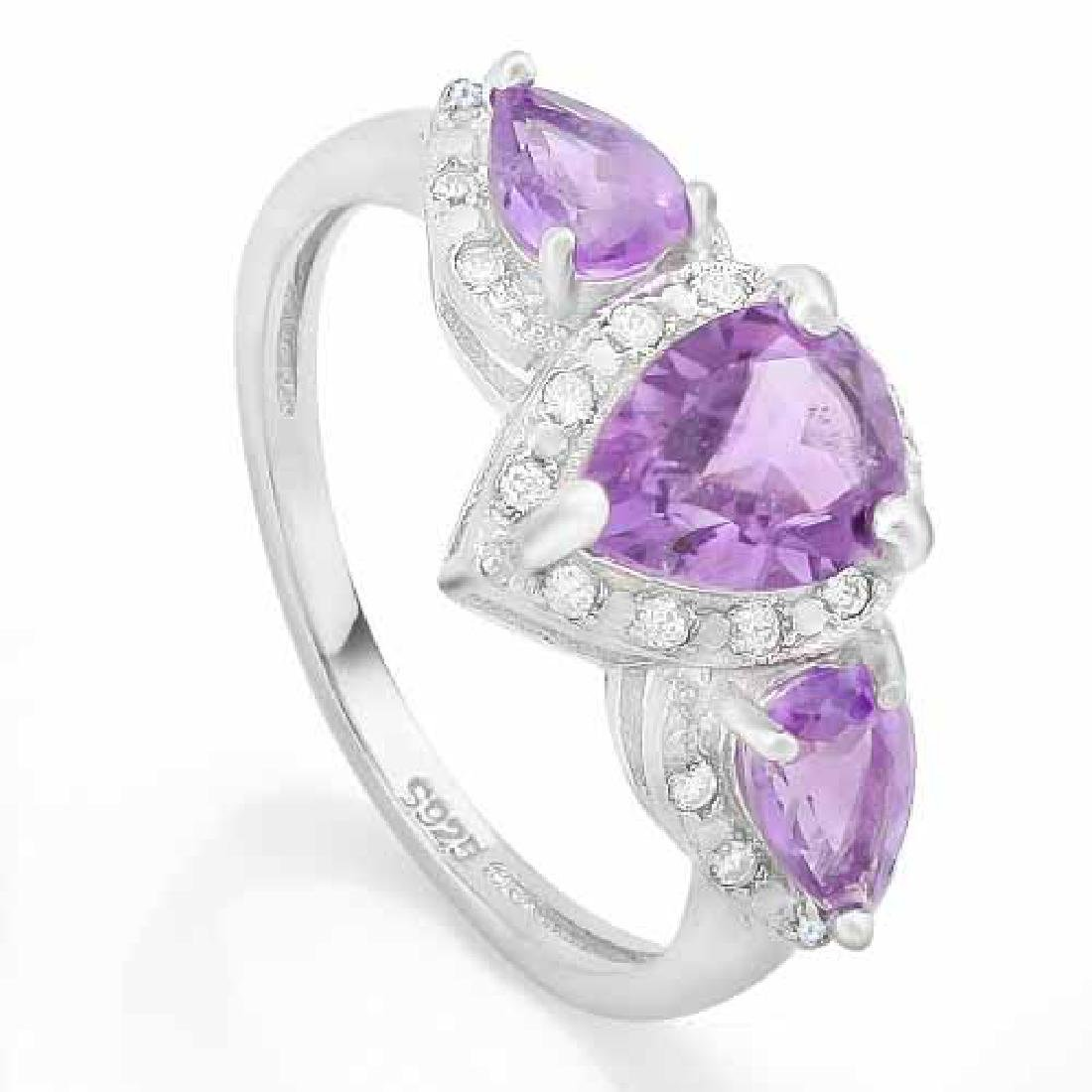 1 3/4 CARAT AMETHYST & DIAMOND 925 STERLING SILVER RING