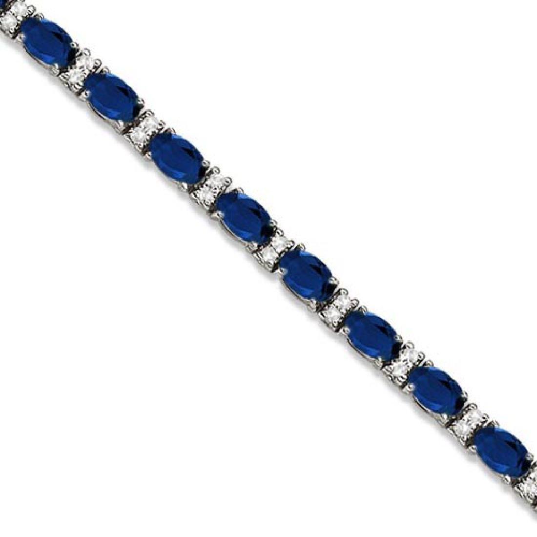 Diamond and Oval Cut Sapphire Tennis Bracelet 14k White
