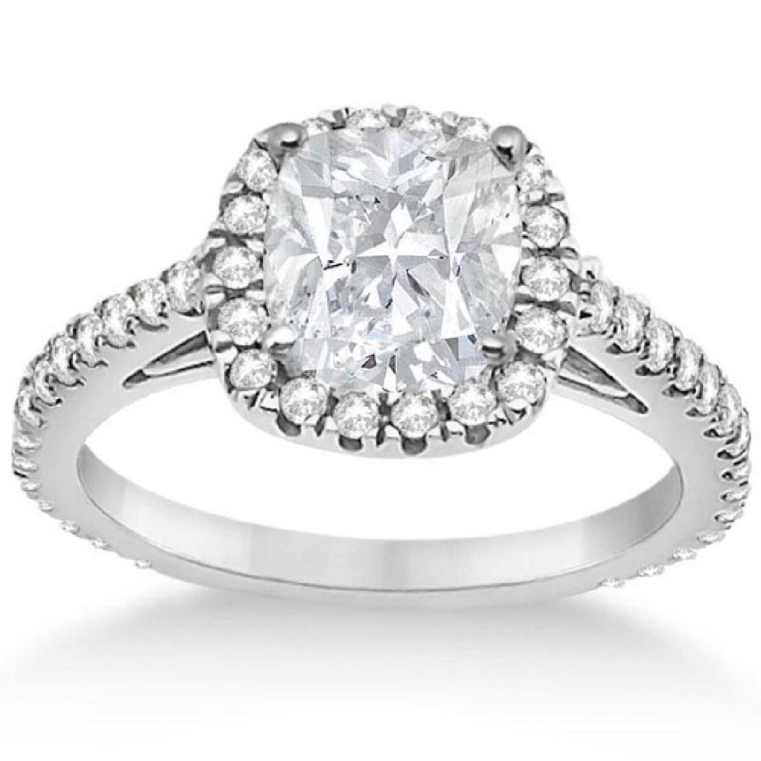 Cathedral Halo Cushion Diamond Engagement Ring 14K Whit