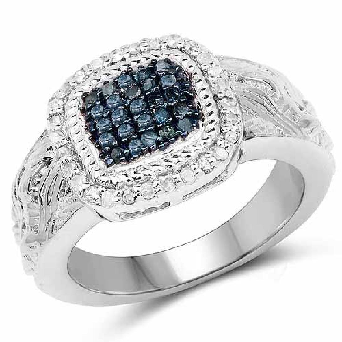 0.28 Carat Genuine Blue Diamond and White Diamond .925