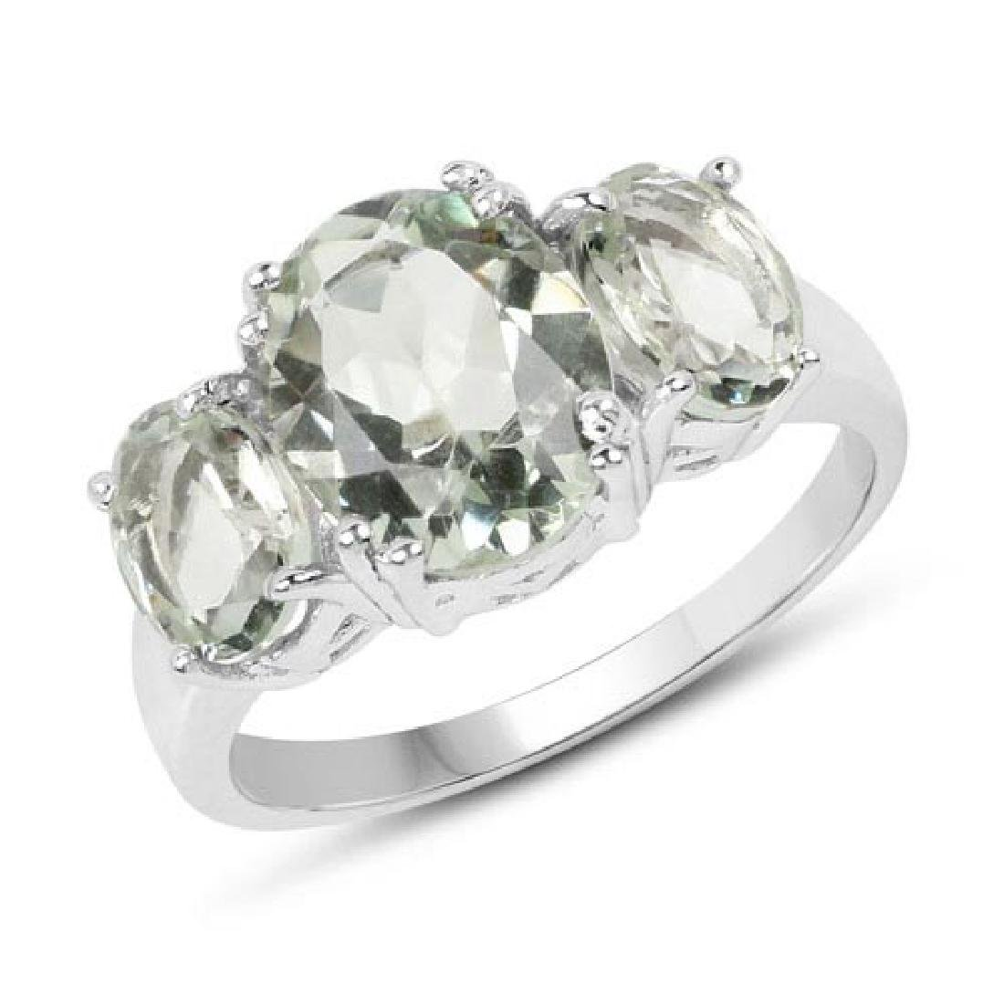 4.10 Carat Genuine Green Amethyst .925 Sterling Silver