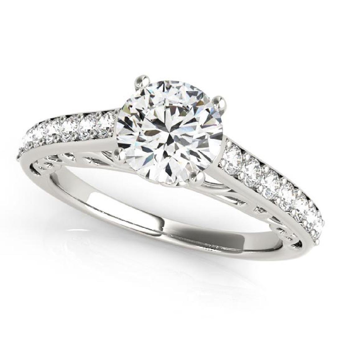 Vintage Style Cathedral Diamond Engagement Ring 18k Whi