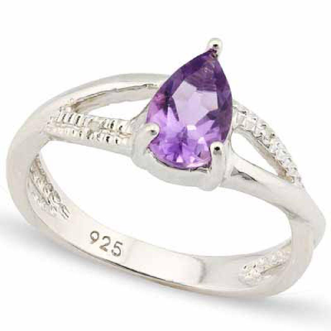 0.812 CARAT TW AMETHYST & GENUINE DIAMOND PLATINUM OVER