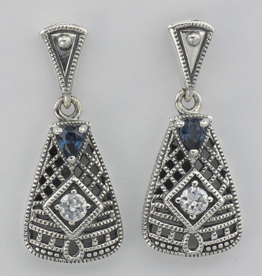 Wounderful Art Deco Blue Sapphire and CZ Filigree Earri