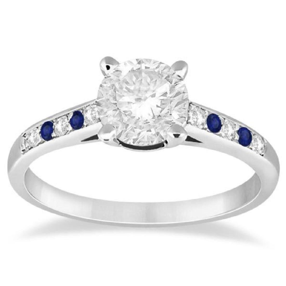 Cathedral Sapphire and Diamond Engagement Ring 14k Whit