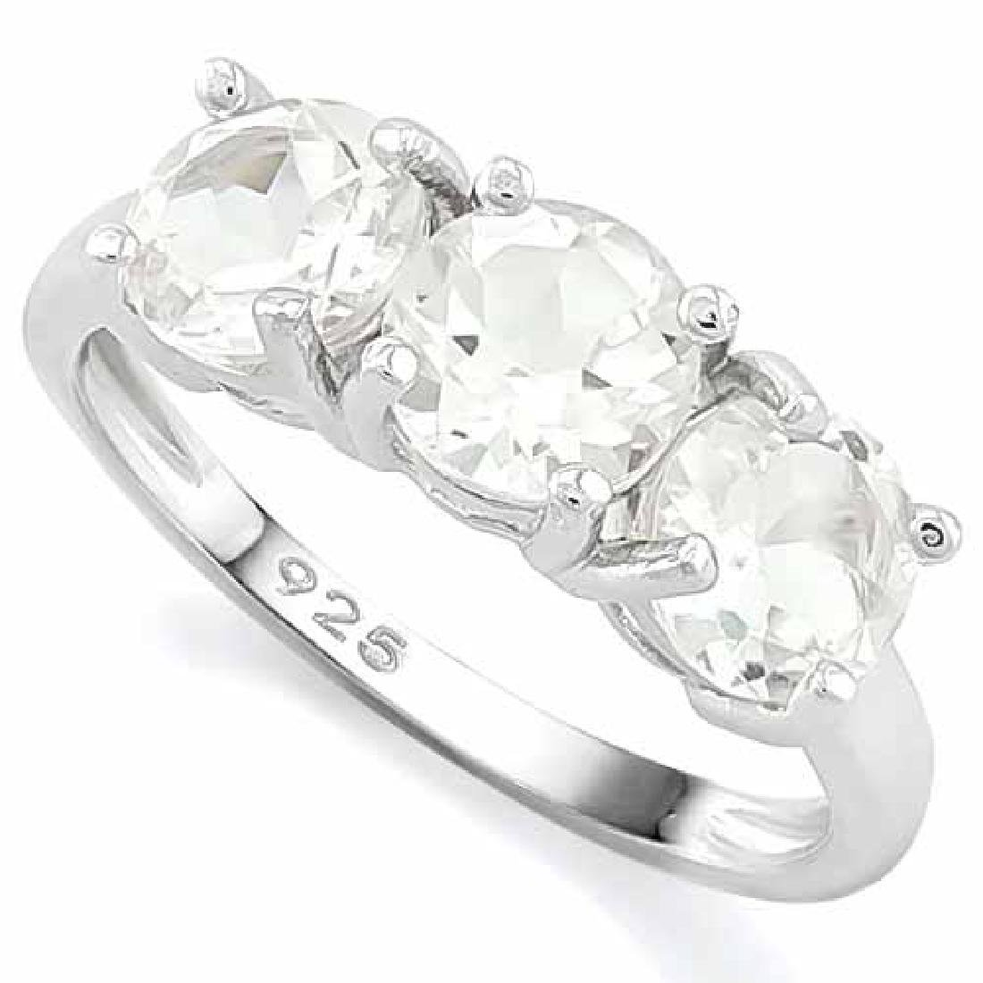 9 4/5 CARAT WHITE TOPAZ 925 STERLING SILVER RING