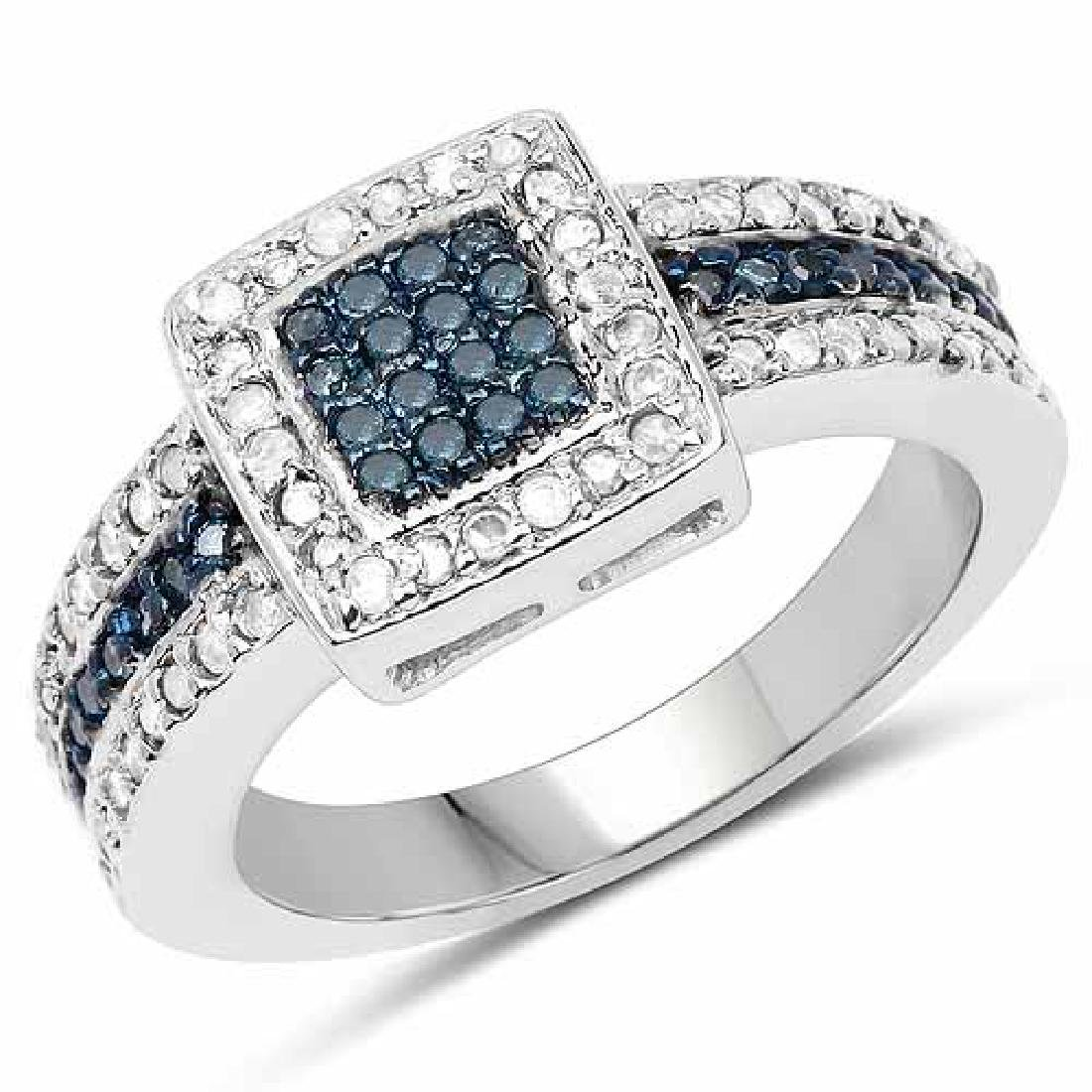0.49 Carat Genuine Blue Diamond and White Diamond .925
