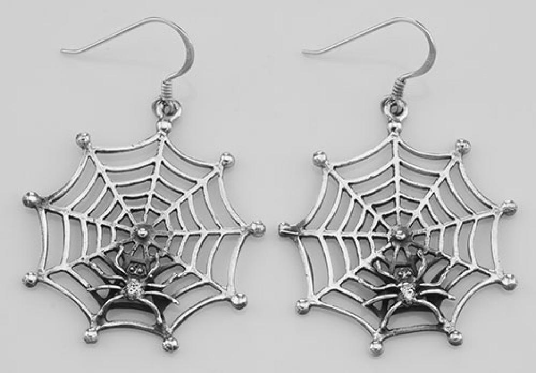 Spider in Web Earrings - Sterling Silver - Halloween