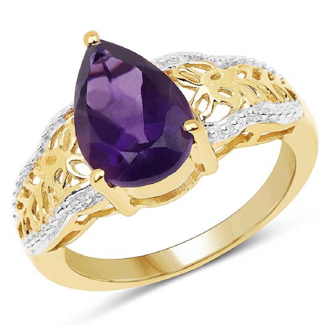 14K Yellow Gold Plated 2.50 Carat Genuine Amethyst .925