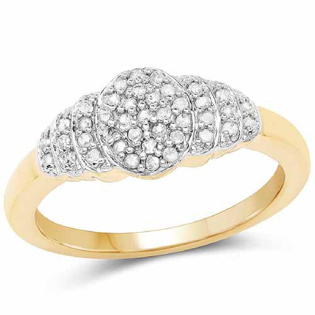 14K Yellow Gold Plated 0.22 Carat Genuine White Diamond