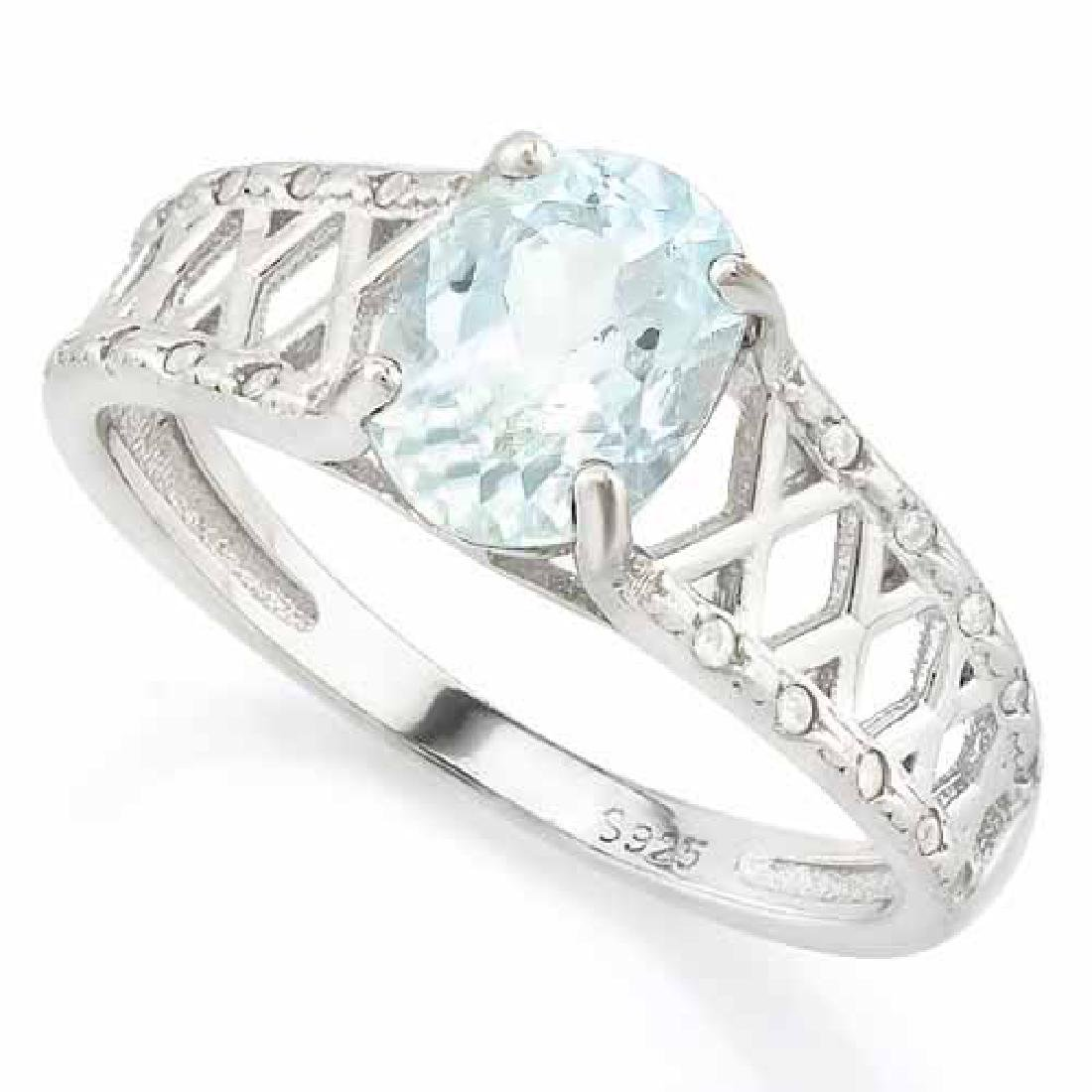 1 CARAT AQUAMARINE & (20 PCS) FLAWLESS CREATED DIAMOND