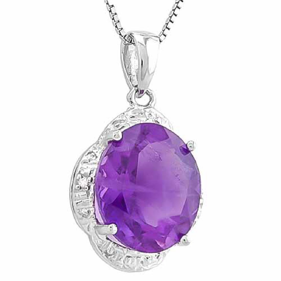 4 1/3 CARAT AMETHYST & DIAMOND 925 STERLING SILVER PEND