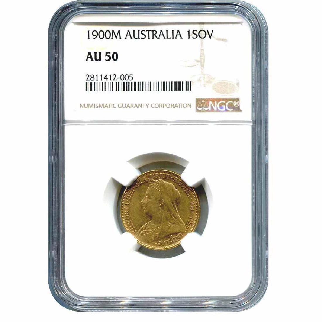Australia Gold Sovereign 1900M AU50 NGC