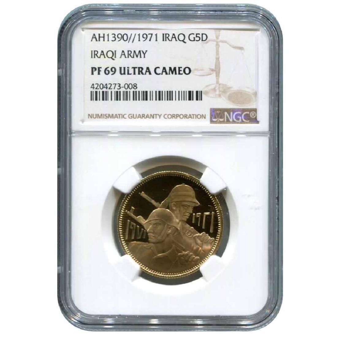 Iraq 5 dinars gold 1971 PF69 50th Anniversary Iraqi Arm