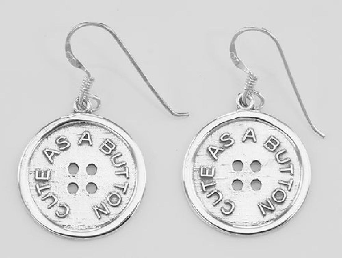 Vintage Style Cute as a Button Earrings - Sterling Silv