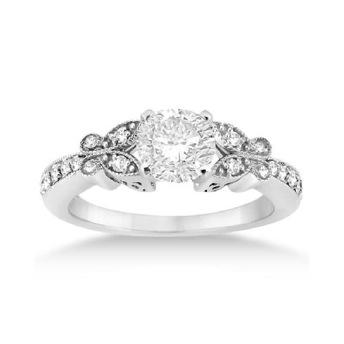 Butterfly Diamond Engagement Ring Setting 14k White Gol