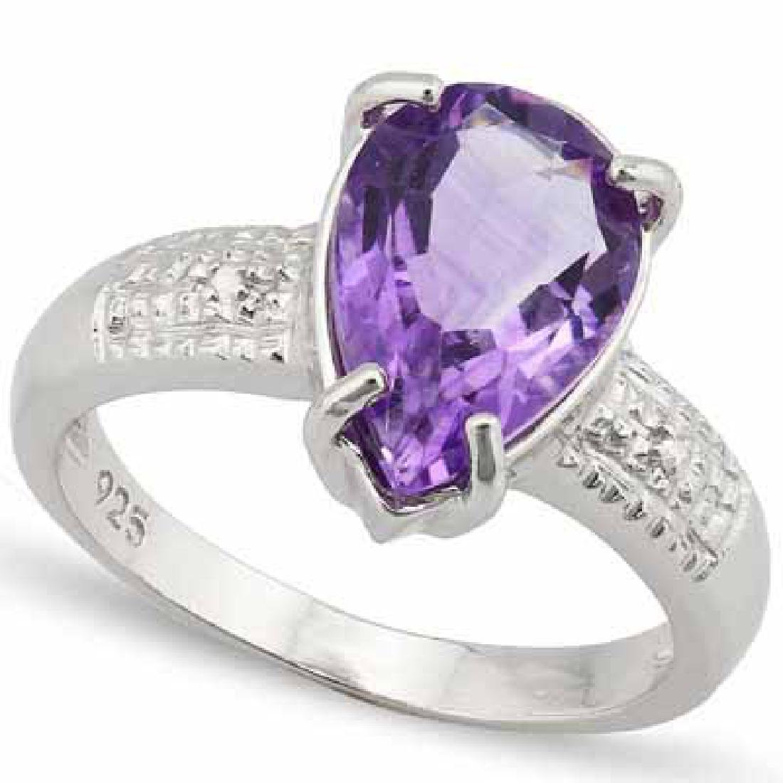 3.2 CARAT TW AMETHYST & GENUINE DIAMOND PLATINUM OVER 0