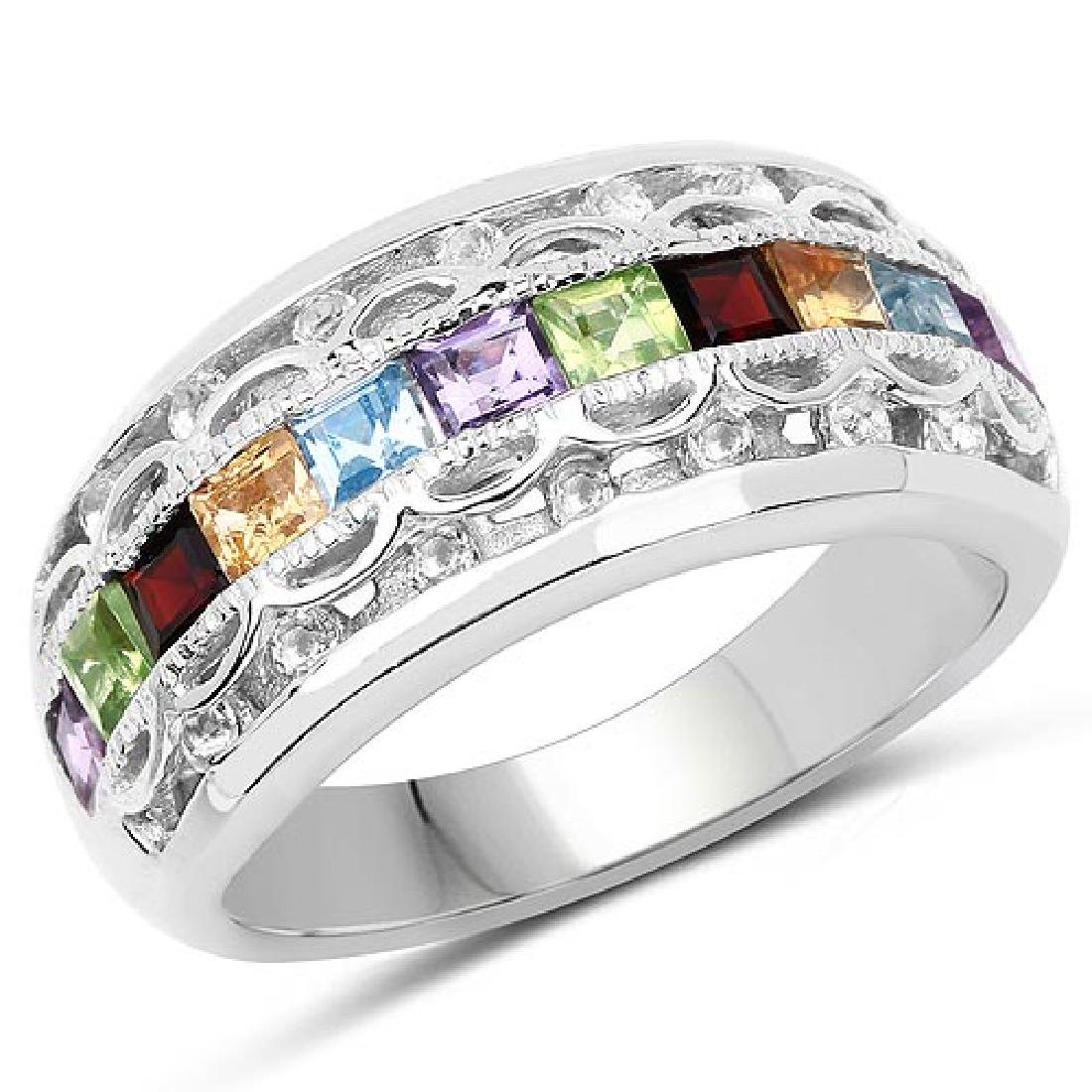 1.49 Carat Genuine Multi Stone .925 Sterling Silver Rin