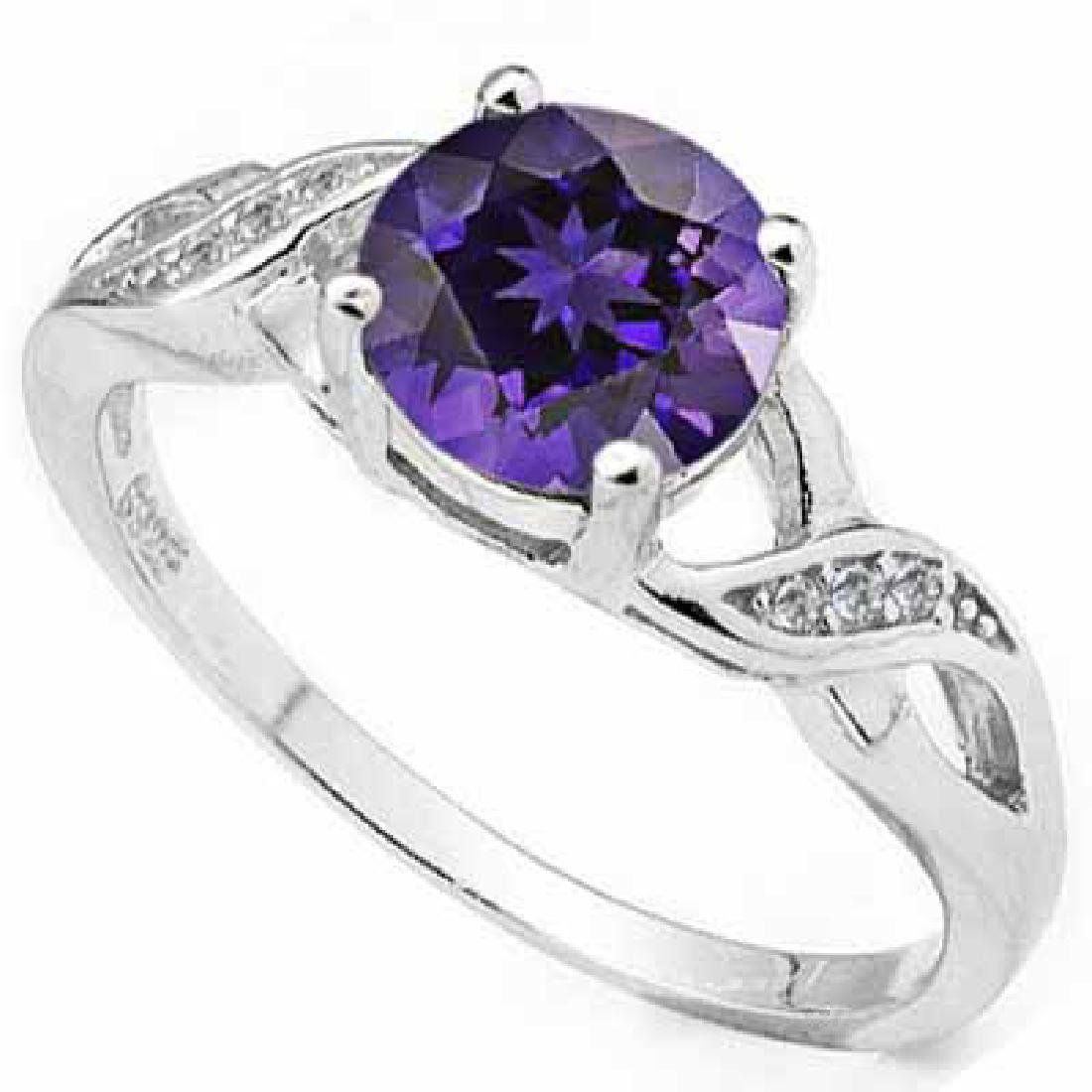 1 1/5 CARAT AMETHYST & (6 PCS) FLAWLESS CREATED DIAMOND