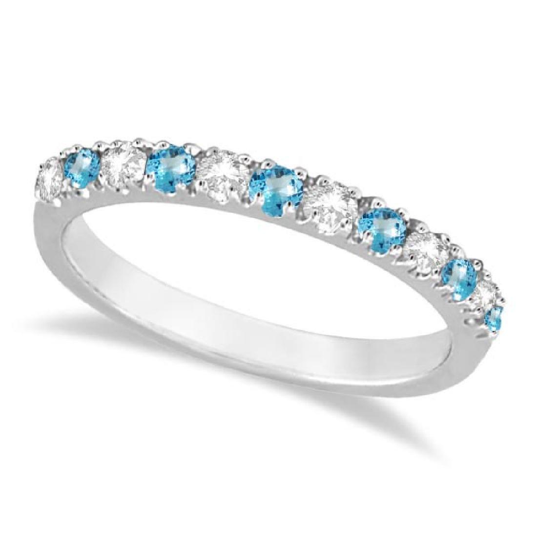 Diamond and Blue Topaz Ring Anniversary Band 14k White