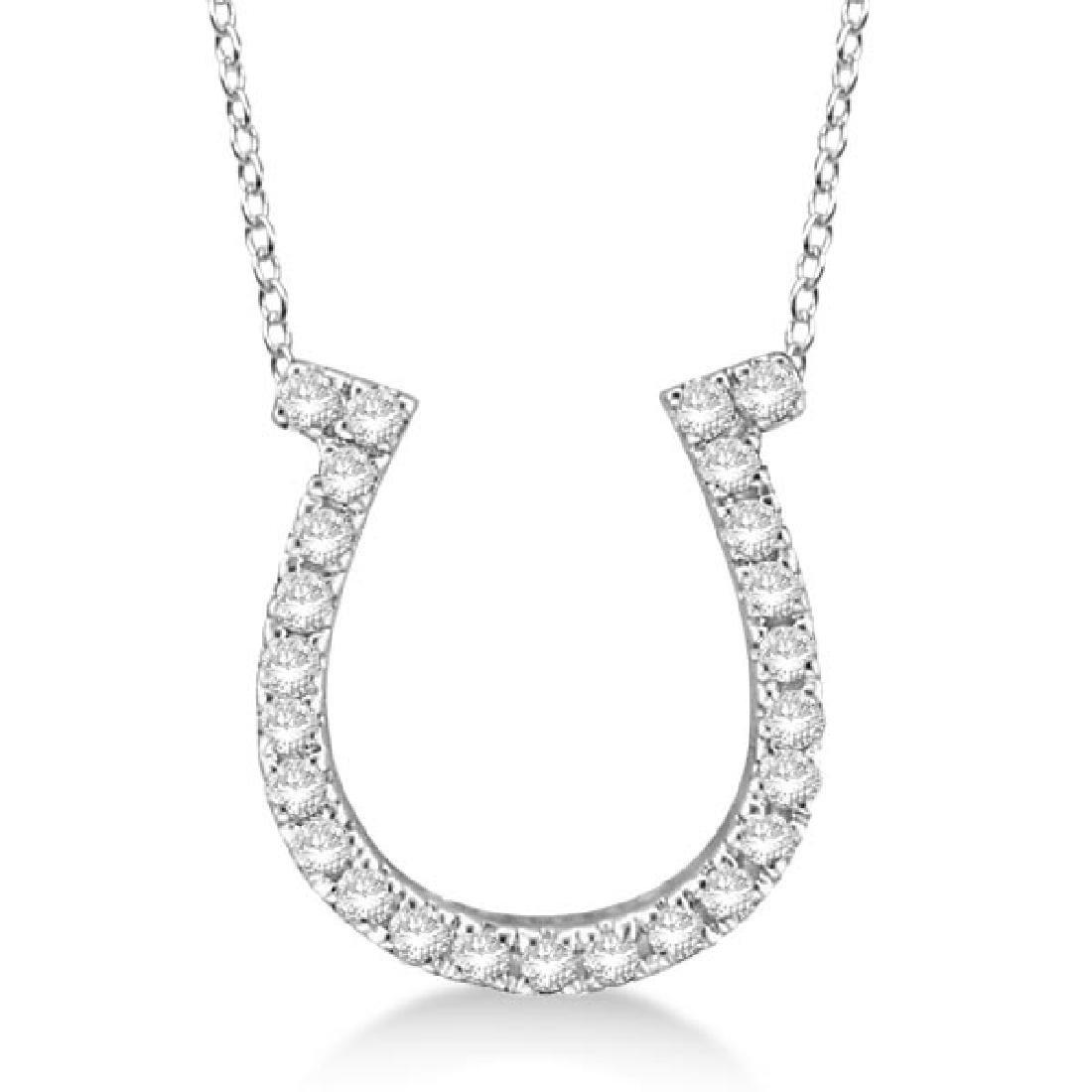 Diamond Horseshoe Pendant Necklace 14k White Gold (0.26
