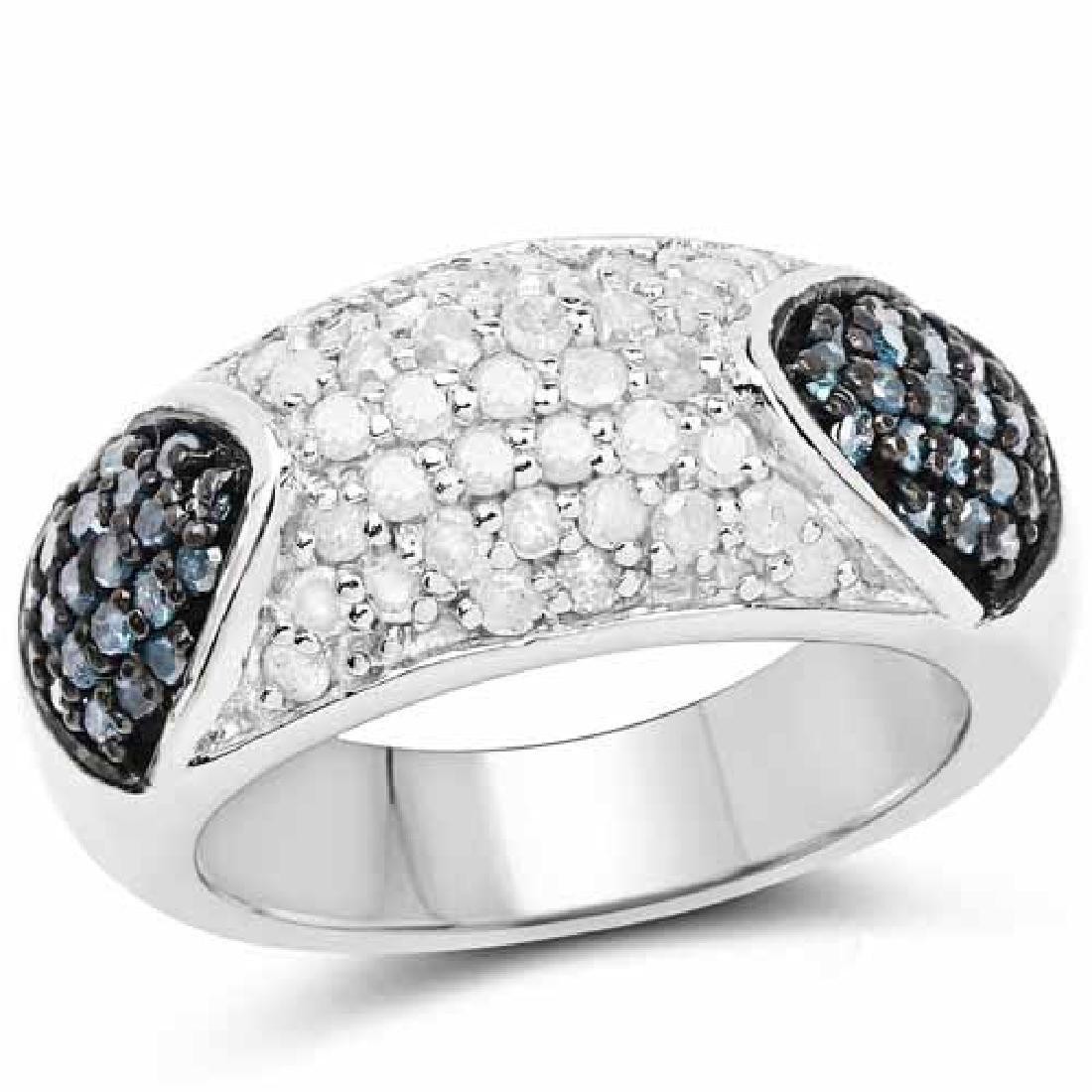 0.94 Carat Genuine Blue Diamond and White Diamond .925