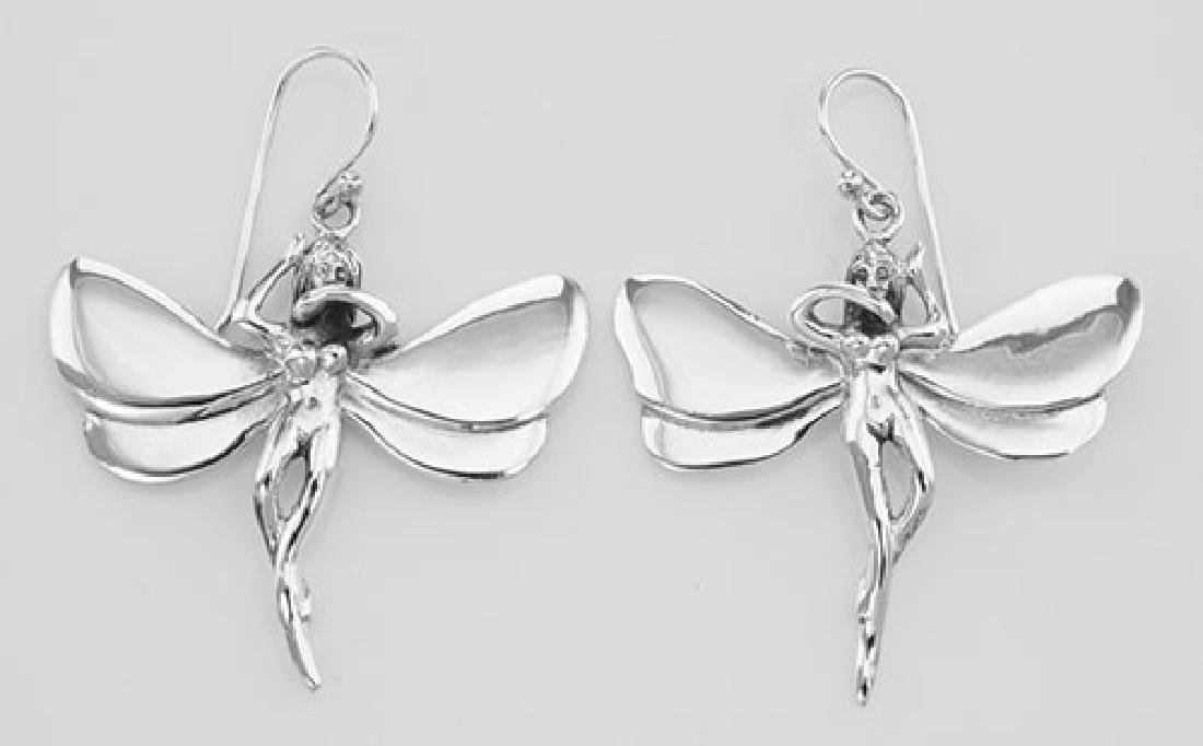Antique Style Winged Fairy Earrings - Sterling Silver