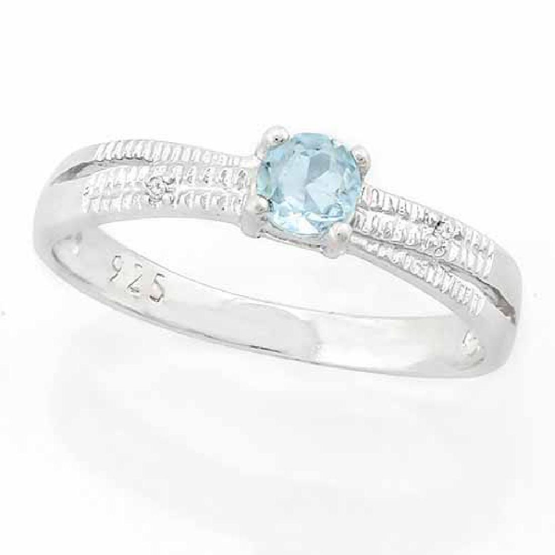 1/4 CARAT BABY SWISS BLUE TOPAZ & DIAMOND 925 STERLING