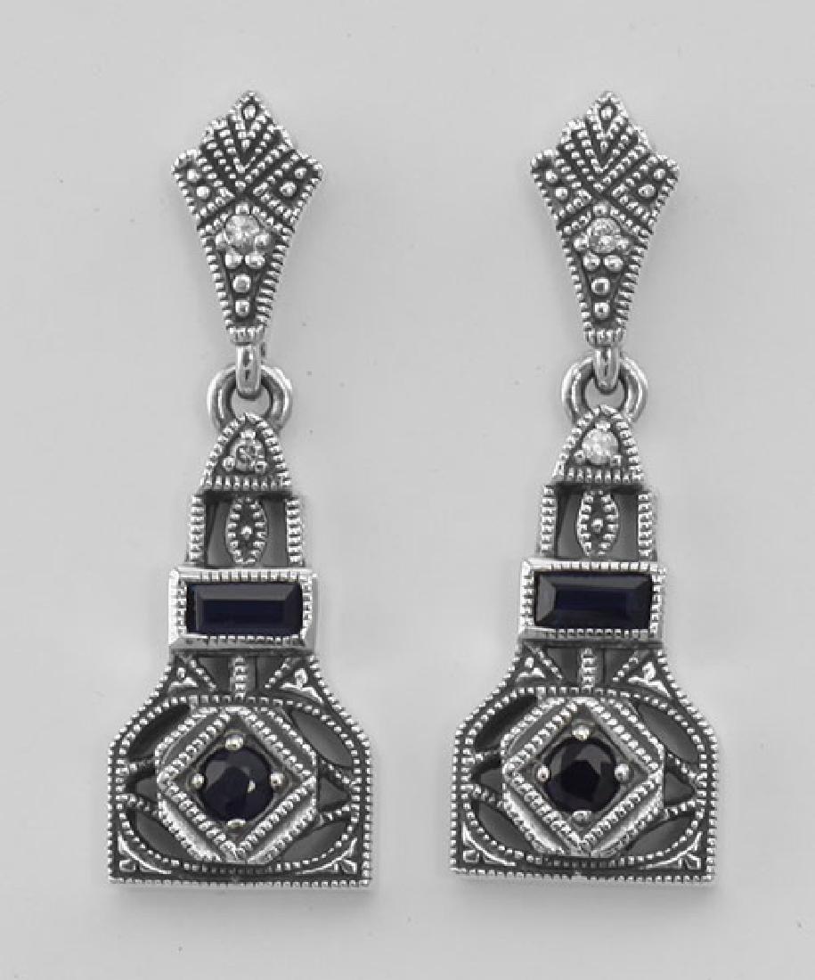 Art Deco Style Genuine Sapphire and CZ Filigree Earring