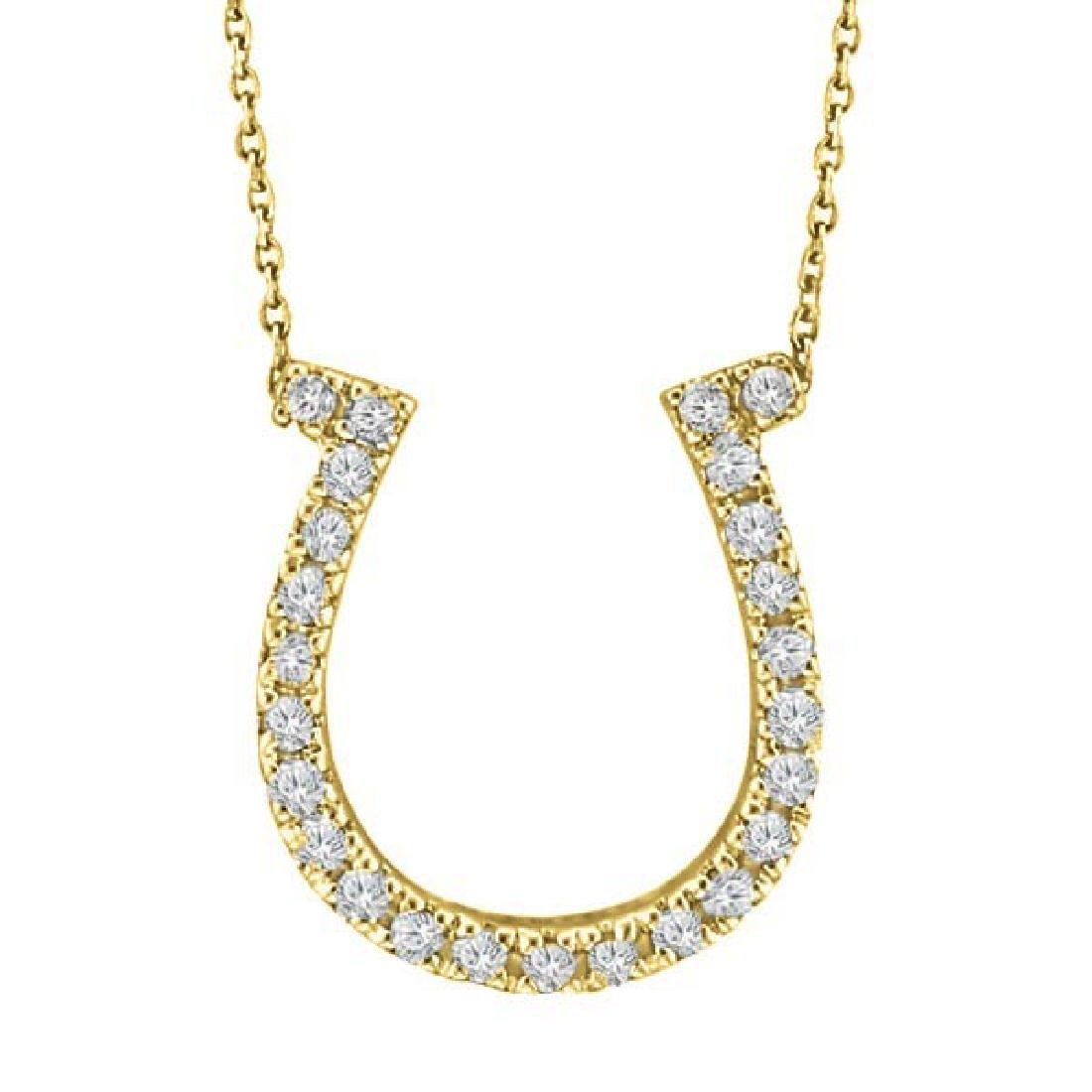 Diamond Horseshoe Pendant Necklace 14k Yellow Gold (0.2