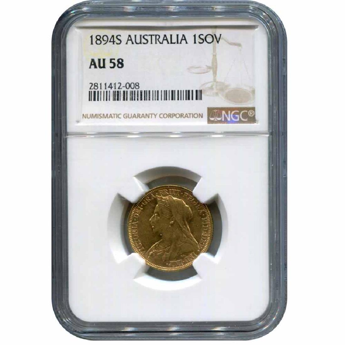 Australia gold sovereign 1894S AU58 NGC