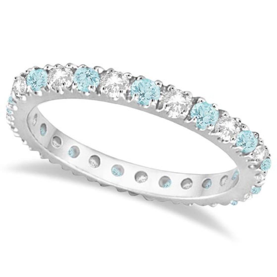 Diamond and Aquamarine Eternity Ring Stack Band 14K Whi