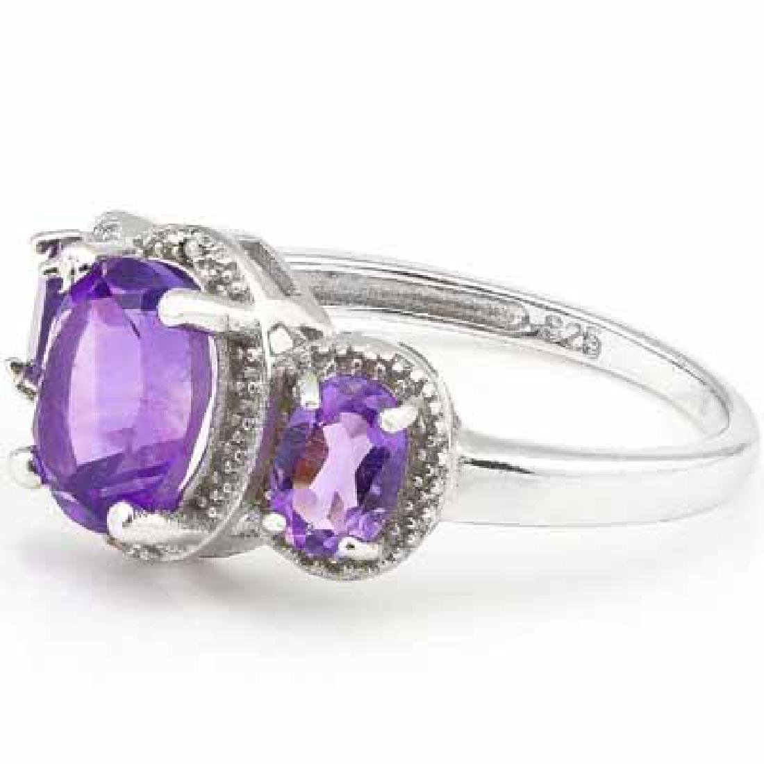 2.65 CT AMETHYSTS 925 STERLING SILVER RING