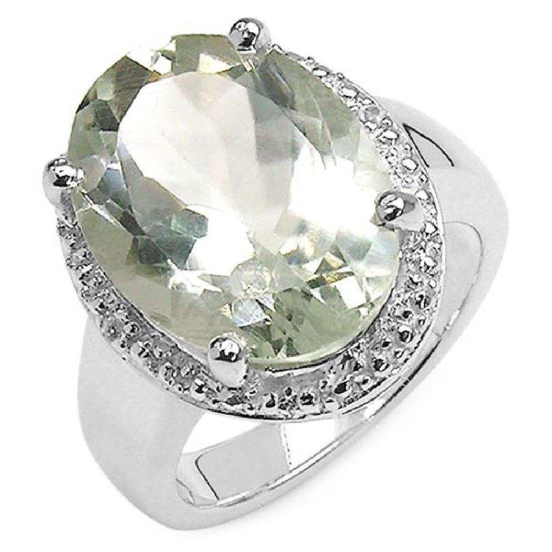 8.22 ct. t.w. Green Amethyst and White Topaz Ring in St