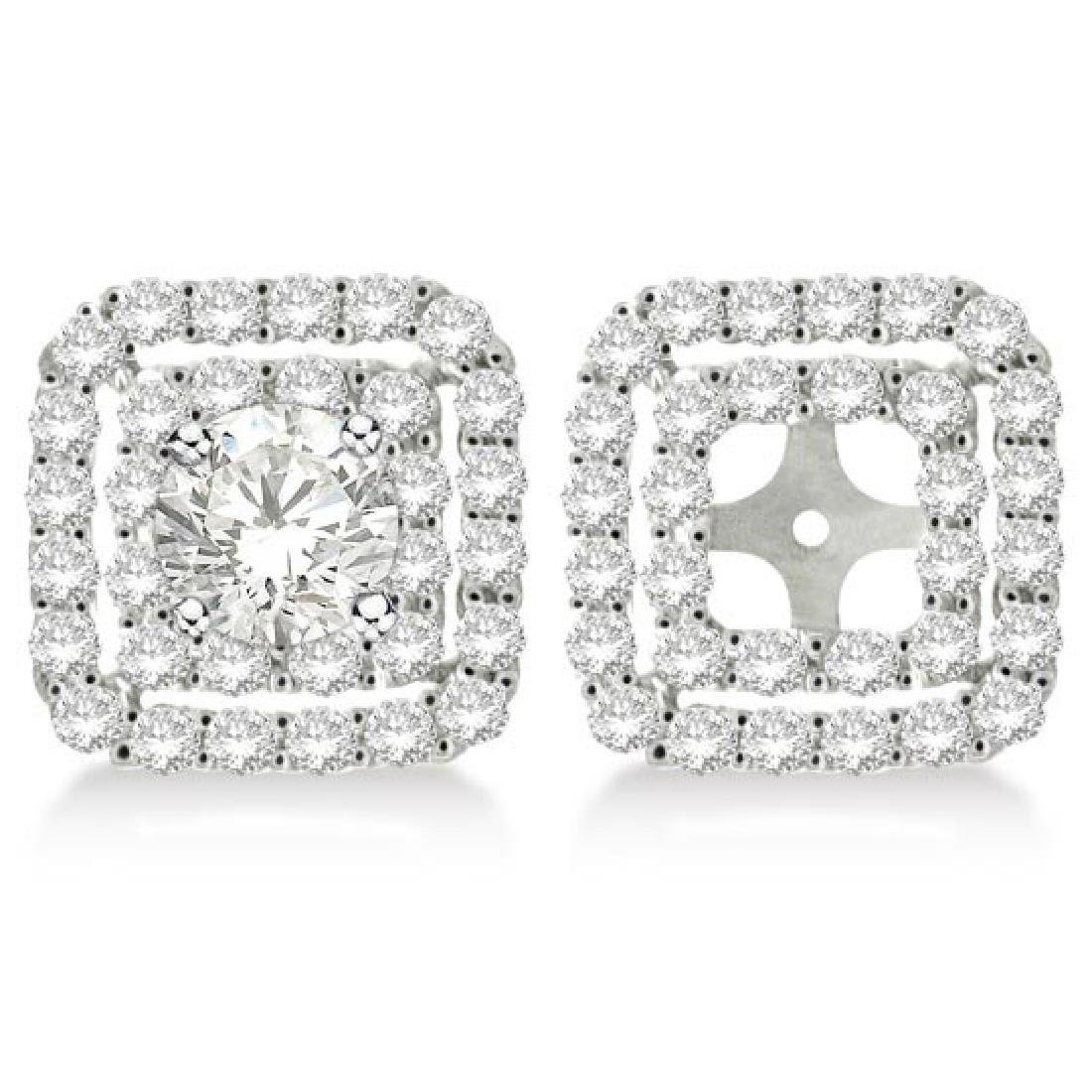 Pave-Set Square Diamond Earring Jackets in 14k White Go