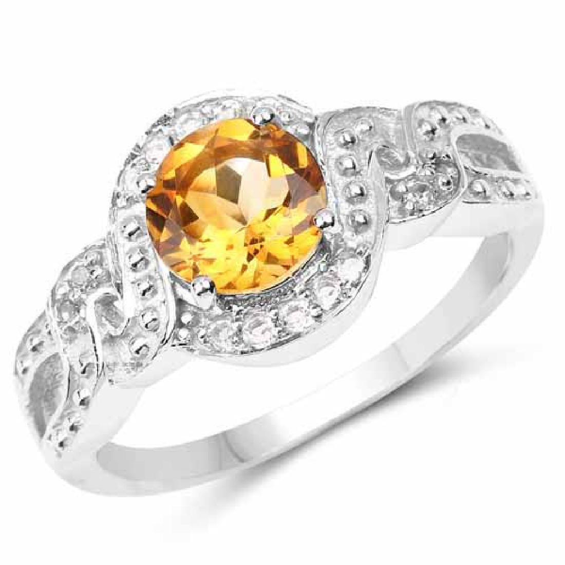 3.00 Carat Genuine Citrine and White Topaz .925 Sterlin