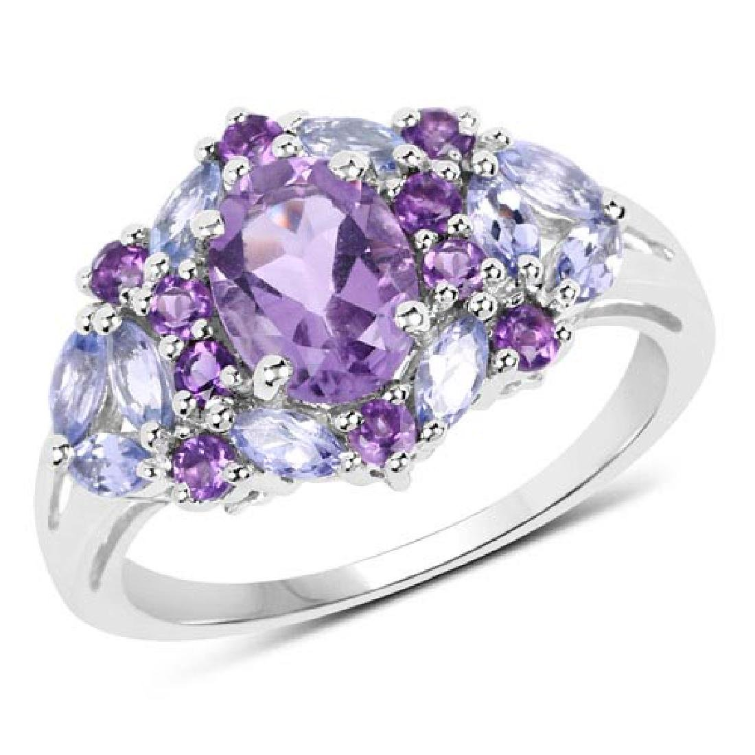 2.25 Carat Genuine Amethyst and Tanzanite .925 Sterling